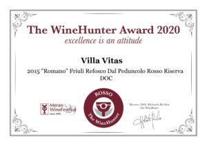 """PREMIO THE WINEHUNTER AWARD 2020 per il Cabernet Franc 2018 e il """"Romano"""" Refosco dal Peduncolo Rosso 2015 5"""