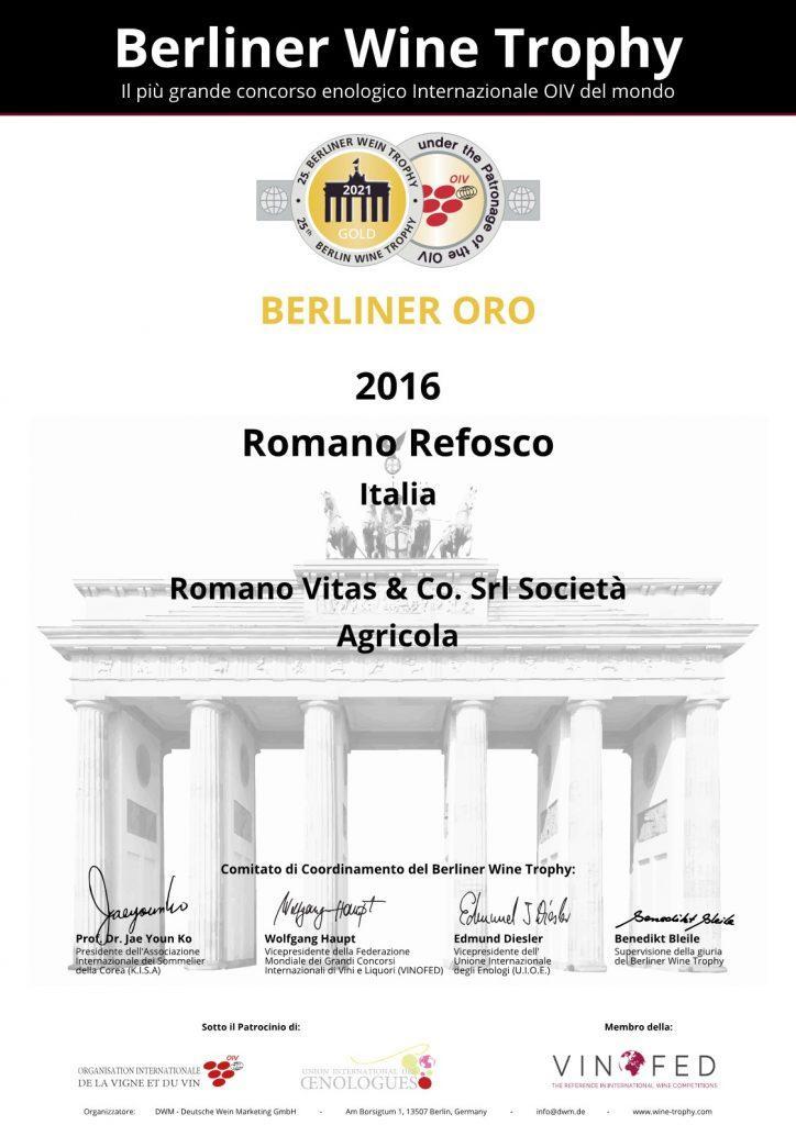 """MEDAGLIA D'ORO PER IL NOSTRO """"ROMANO"""" REFOSCO RISERVA 2016 3"""
